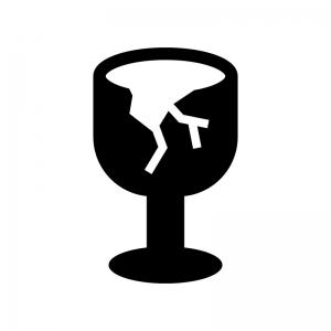 割れたワイングラス(ゴミ)の白黒シルエットイラスト02
