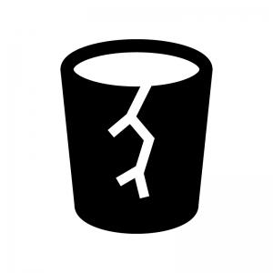 割れたコップ(ゴミ)の白黒シルエットイラスト