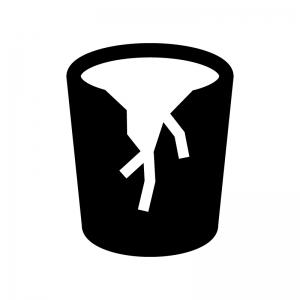 割れたコップ(ゴミ)の白黒シルエットイラスト02