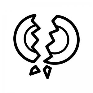割れた食器(ゴミ)の白黒シルエットイラスト02
