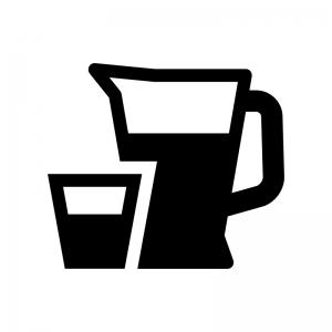 デキャンタ・ピッチャーの白黒シルエットイラスト04