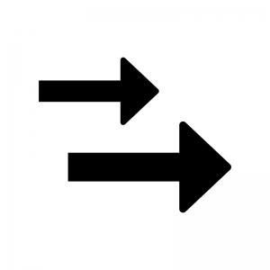 2つの矢印の白黒シルエットイラスト