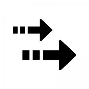 2つの矢印の白黒シルエットイラスト02