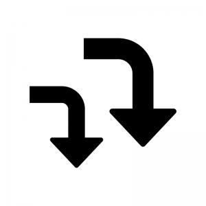 下降・ダウン矢印の白黒シルエットイラスト