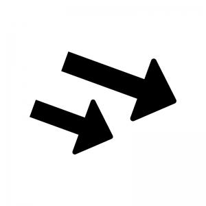 下降・ダウン矢印の白黒シルエットイラスト02