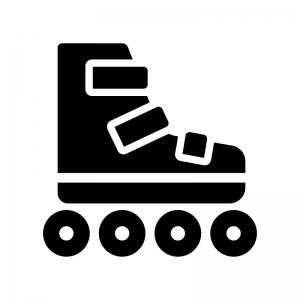 ローラースケートの白黒シルエットイラスト02
