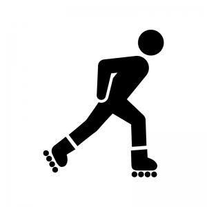 ローラースケートで滑る人の白黒シルエットイラスト02