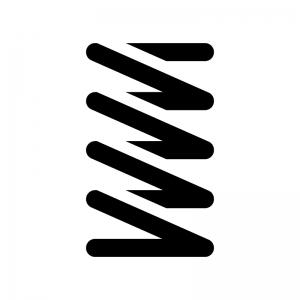 バネ・スプリングの白黒シルエットイラスト