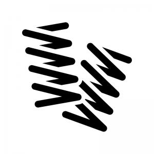 バネ・スプリングの白黒シルエットイラスト02