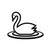 白鳥の白黒シルエットイラスト02