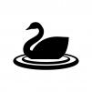 白鳥の白黒シルエットイラスト04