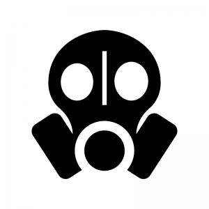 ガスマスクの白黒シルエットイラスト