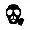 ガスマスクの白黒シルエットイラスト02