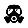 ガスマスクの白黒シルエットイラスト03