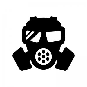 ガスマスクの白黒シルエットイラスト04