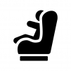 チャイルドシートと赤ちゃんの白黒シルエットイラスト