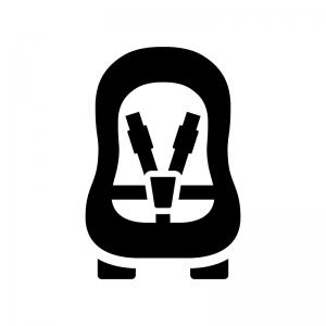 チャイルドシートの白黒シルエットイラスト02