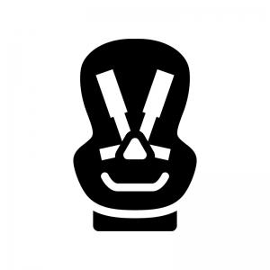 チャイルドシートの白黒シルエットイラスト03