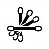 綿棒の白黒シルエットイラスト02