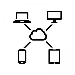 クラウドネットワークの白黒シルエットイラスト03