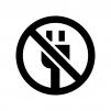 電源の使用禁止の白黒シルエットイラスト
