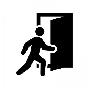 ドアを開ける白黒シルエットイラスト