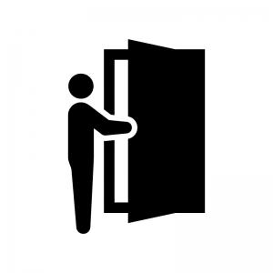 ドアを開ける白黒シルエットイラスト02