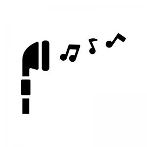 イヤフォンとメロディの白黒シルエットイラスト