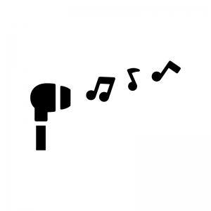 イヤフォンとメロディの白黒シルエットイラスト02