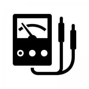 電圧計の白黒シルエットイラスト
