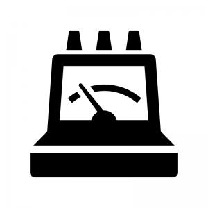 電圧計の白黒シルエットイラスト02