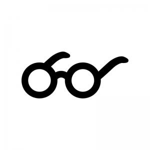 丸いメガネの白黒シルエットイラスト03