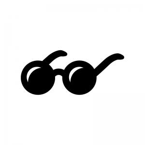 丸いメガネのサングラスの白黒シルエットイラスト