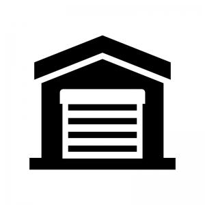 ガレージ・車庫の白黒シルエットイラスト