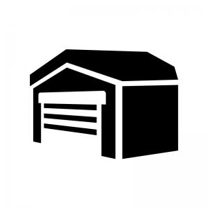 ガレージ・車庫の白黒シルエットイラスト02