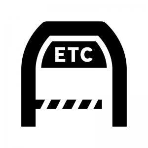 高速道路・ETCゲートの白黒シルエットイラスト