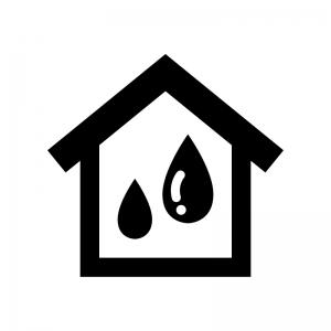 家の雨漏りの白黒シルエットイラスト