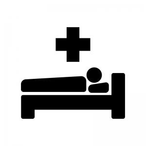 入院の白黒シルエットイラスト