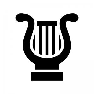 ハープの白黒シルエットイラスト