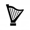 ハープの白黒シルエットイラスト02