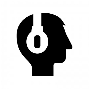 ヘッドフォン装着の白黒シルエットイラスト