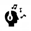 ヘッドフォン装着の白黒シルエットイラスト02