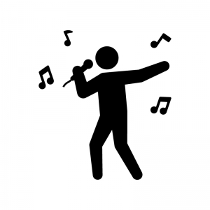 歌う人の白黒シルエットイラスト03