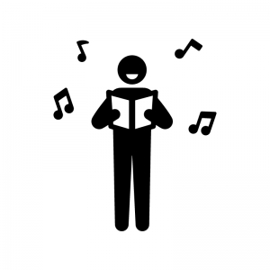 歌う人の白黒シルエットイラスト04