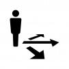 人物と矢印の白黒シルエットイラスト