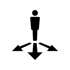 人物と矢印の白黒シルエットイラスト02