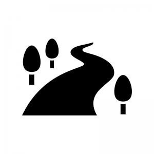 川と木の白黒シルエットイラスト