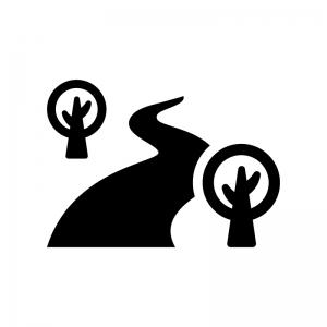 川と木の白黒シルエットイラスト02
