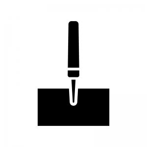 工具・キリで穴あけの白黒シルエットイラスト