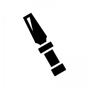工具・ノミの白黒シルエットイラスト